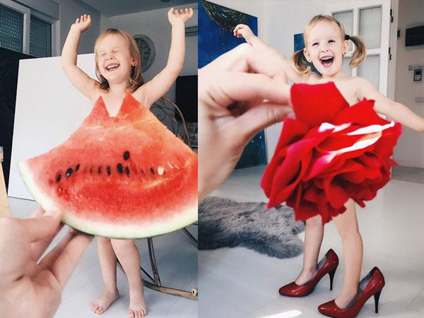 Mẹ kết váy áo cho con từ rau, quả và hoa