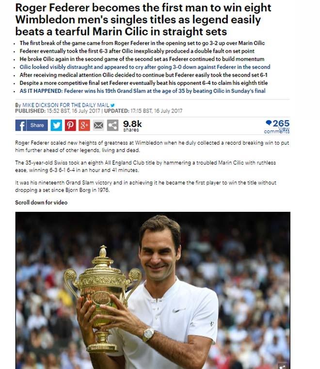 Báo chí thế giới: Cả hành tinh kinh ngạc về Federer - 1