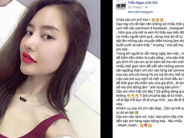 """Á hậu Linh Chi nổi giận """"dằn mặt"""" antifan"""