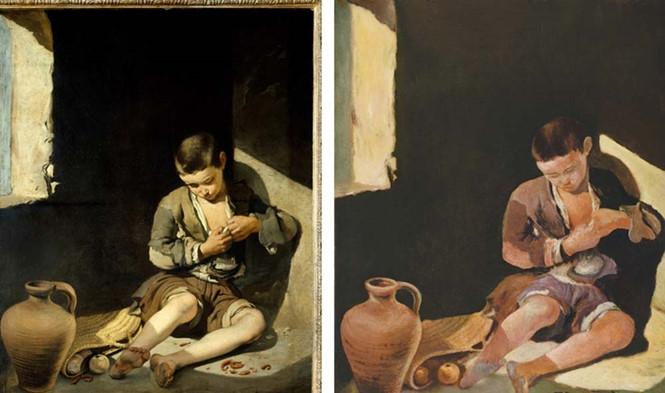 Bức tranh The young beggar thật (trái) và tranh giả, mạo danh Tô Ngọc Vân (phải) /// Ảnh: Nytimes.com