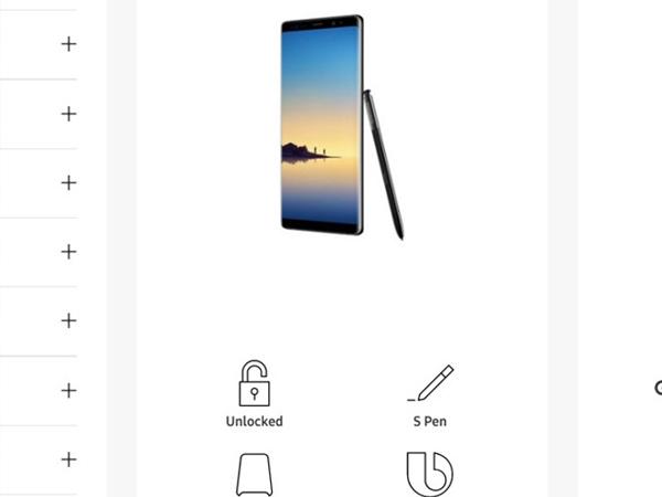 Galaxy Note 8 bất ngờ xuất hiện trên website của Samsung