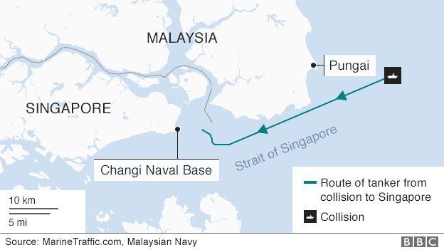 Bản đồ khu vực va chạm giữa tàu chiến Mỹ và tàu chở dầu. Ô vuông màu đen là nơi xảy ra vụ va chạm. (Ảnh: BBC)