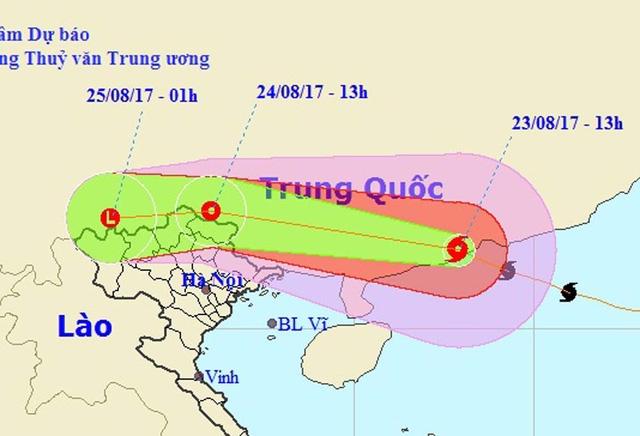 Vị trí và hướng di chuyển của bão số 6 (Ảnh: NCHMF).