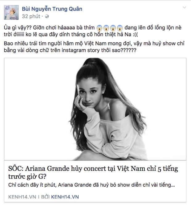 Không chỉ fan, nghệ sĩ Việt cũng sốc trước tin Ariana Grande đột ngột hủy concert trước giờ G - Ảnh 3.