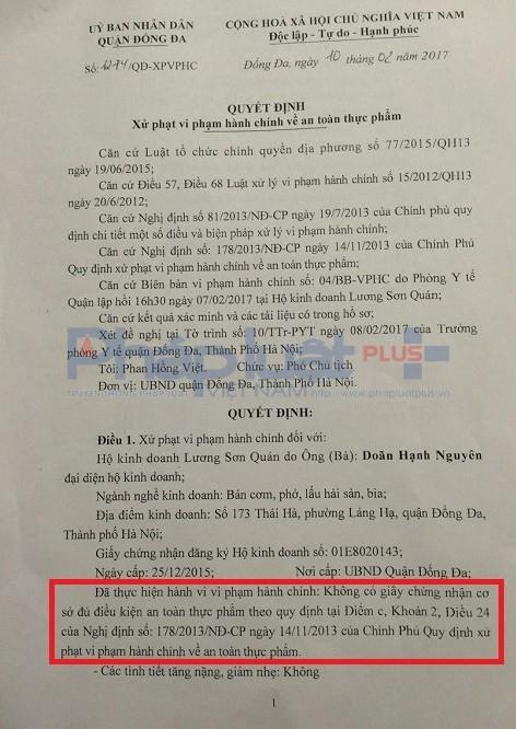 Không đảm bảo an toàn vệ sinh thực phẩm, Nhà hàng Lương Sơn Quán bị đình chỉ hoạt động