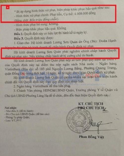 Quyết định xử phạt do UBND quận Đống Đa ban hành nhưngnhà hàng Lương Sơn Quán có địa chỉ tại 173 Thái Hà, phường Láng Hạ, quận Đống Đa (Hà Nội) vẫn vi phạm