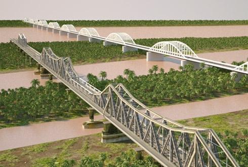 Phối cảnh cầu đường sắt đô thị bắc qua sông Hồng song song với cầu Long Biên.