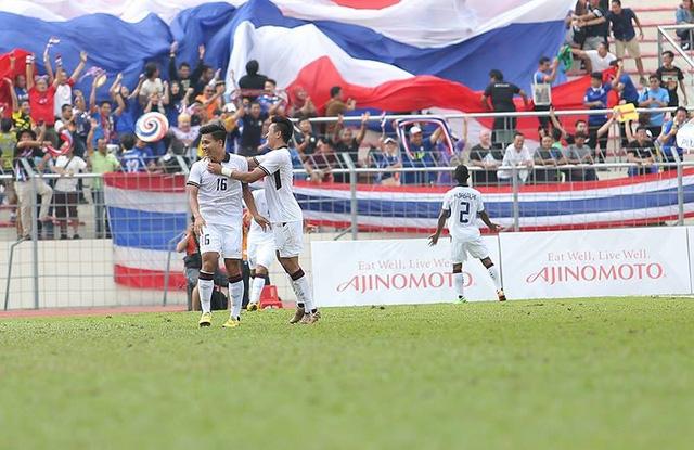 Cầu thủ U22 Thái Lan ăn mừng bàn thắng mở tỷ số