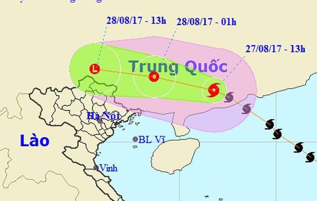 Bão số 7 đã đi sâu vào đất liền Trung Quốc (Ảnh: NCHMF).