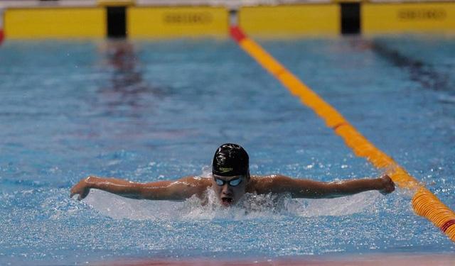 Kim Sơn giành HCV và phá kỷ lục ở nội dung 400m hỗn hợp nam (ảnh: Q.H)