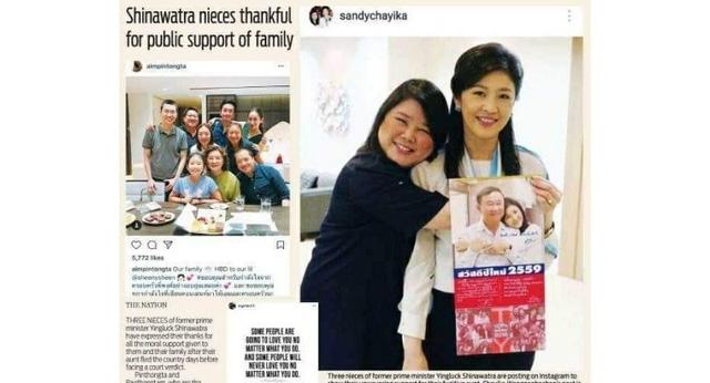 Các cháu của cựu Thủ tướng Thái Lan Yingluck Shinawatra đưa ra những bình luận đầu tiên sau khi bà Yingluck bỏ trốn. (Ảnh: Nation)