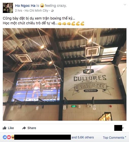 Hồ Ngọc Hà chiều lòng Kim Lý đi xem trận boxing tỷ USD - Ảnh 2.