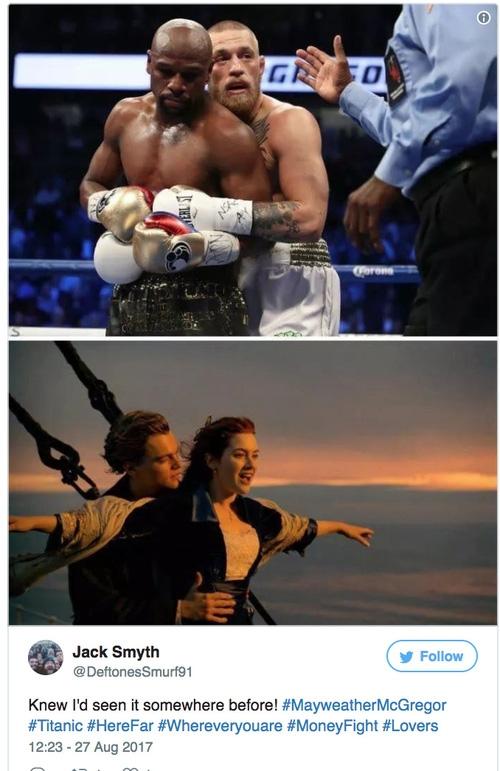 Khoảnh khắc tình cảm của Floyd Mayweather và Conor McGregor khiến nhiều người liên tưởng đến cảnh phim kinh điển của Titanic - Ảnh 5.