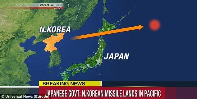 Tên lửa Triều Tiên bay qua không phận Nhật Bản trước khi rơi xuống phía bắc Thái Bình Dương. (Ảnh: NHK)