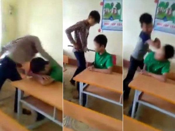 Clip nam sinh bị đấm, đá túi bụi ngay trong lớp học gây phẫn nộ
