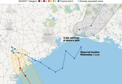 Đường đi của bão Harvey tính đến 1 giờ sáng 30/8. Đồ hoạ: NewYorkTimes.