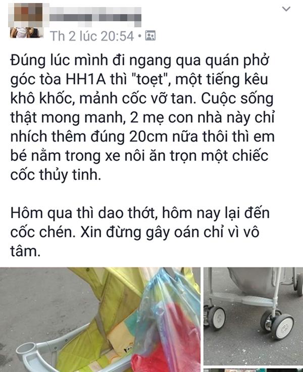 Hà Nội: Cư dân HH Linh Đàm lại hết hồn khi chiếc cốc thủy tinh rơi xuống, suýt trúng đầu 2 mẹ con - Ảnh 3.