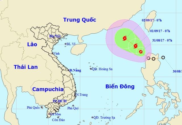Vị trí và đường đi dự báo của áp thấp nhiệt đới trên Biển Đông.