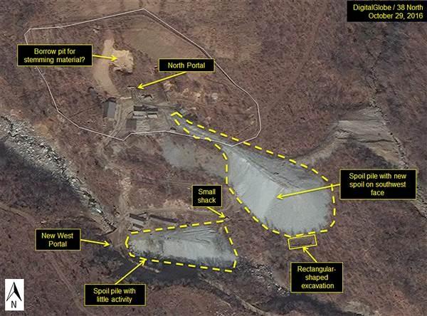 Ảnh chụp vệ tinh của Mỹ tại căn cứ hạt nhân Punggye-Ri của Triều Tiên (Ảnh: 38 North)