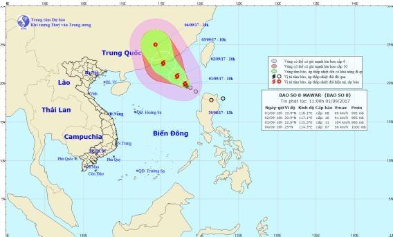Vị trí và đường đi của cơn bão số 8. Ảnh: NCHMF