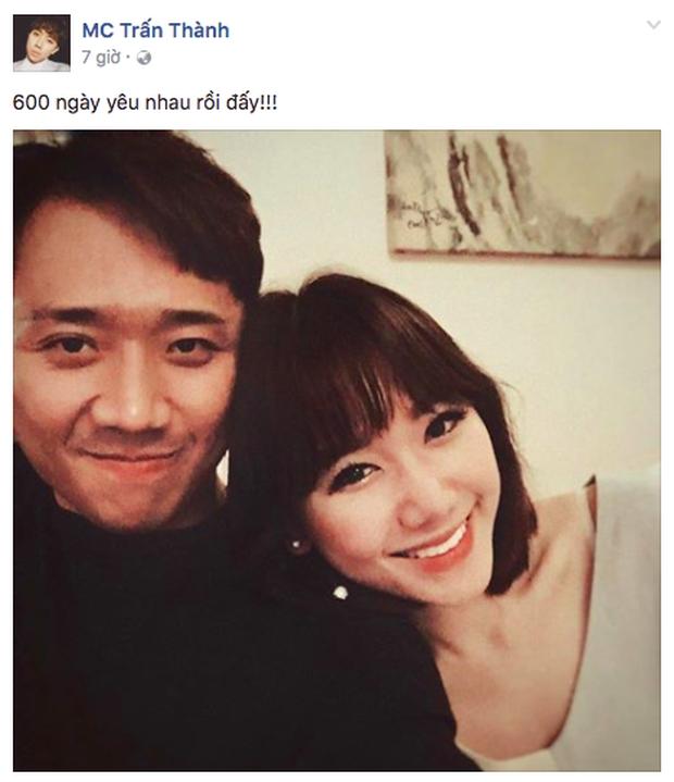 Kỉ niệm 600 ngày yêu nhau, Hari Won hạnh phúc ngả đầu vào vai Trấn Thành - Ảnh 1.