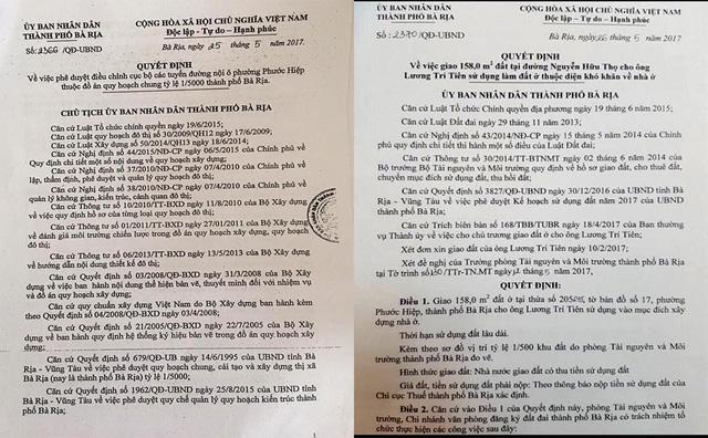 Ngày 25/5, UBND TP Bà Rịa ra quyết định về việc phê duyệt điều chỉnh cục bộ các tuyến đường nội ô phường Phước Hiệp. Chỉ 1 ngày sau, ngày 26/5, UBND TP Bà Rịa đã ra quyết định giao 158m2 đất tại đường Nguyễn Hữu Thọ cho ông Lương Trí Tiên sử dụng làm đất ở.