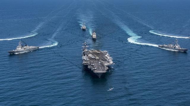 Các tàu chiến của Hải quân Mỹ (Ảnh: SCMP)