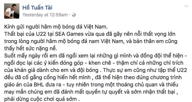 Tuấn Tài viết tâm thư xin lỗi người hâm mộ Việt Nam - Ảnh 1.