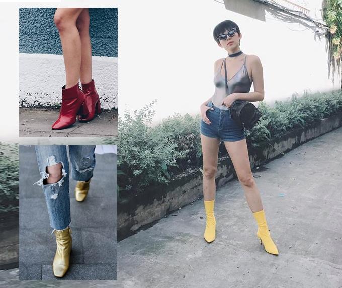 Muốn nổi bật và thu hút mọi ánh nhìn khi xuất hiện trên phố, các bạn gái có thể chọn bốt tông vàng chanh bắt mắt như của Tóc Tiên hay các kiểu bốt vàng ánh kim, đỏ tươi bắt mắt.
