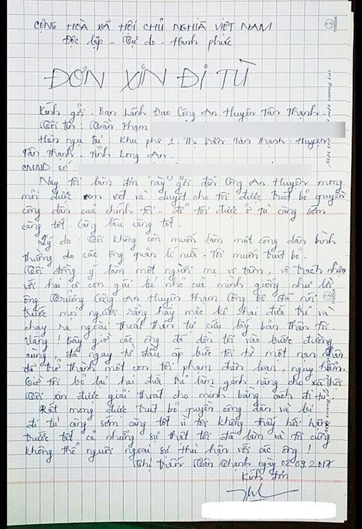Quá uất ức chị L. viết đơn xin đi tù bỏ lai hai đứa con thơ cho xã hội