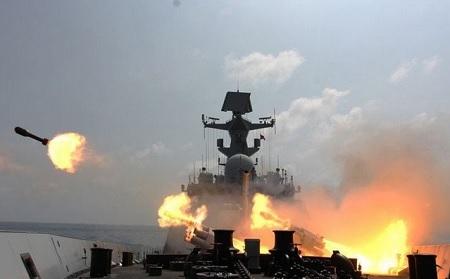 Trung Quốc đã nhiều lần huấn luyện bắn đạn thật tại khu vực quần đảo Hoàng Sa của Việt Nam (ảnh: PLA Daily)