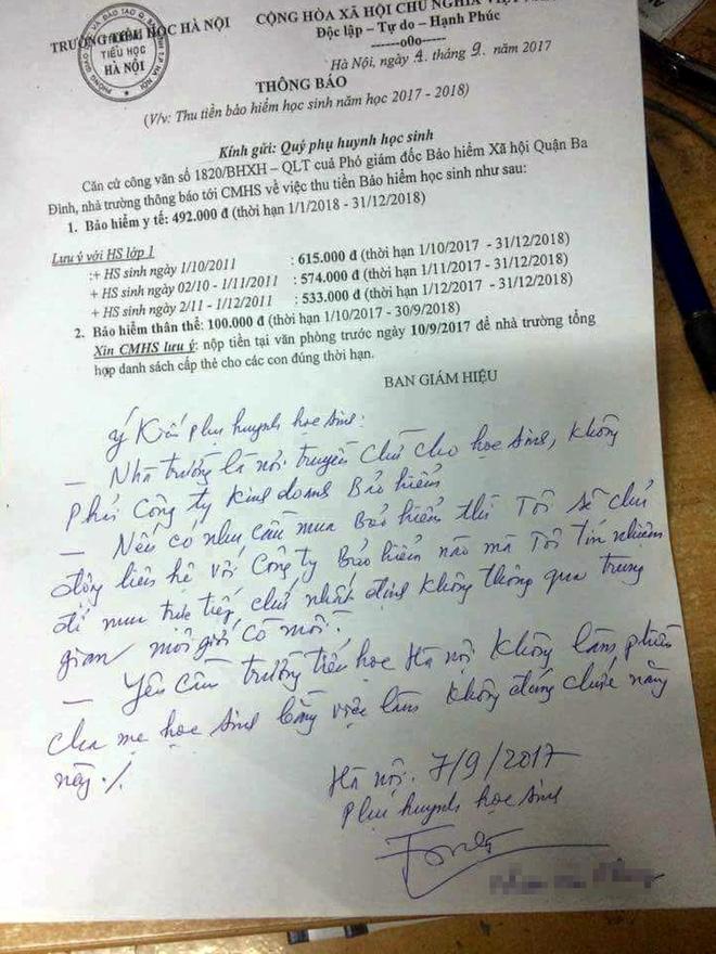 Bút phê phụ huynh trong tờ thông báo đóng bảo hiểm Y tế của trường Tiểu học Hà Nội gây nhiều tranh cãi - Ảnh 1.