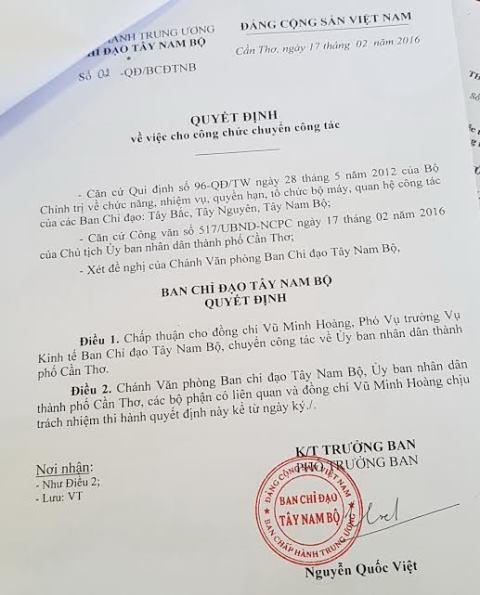 Quyết định chuyển công tác của ông Hoàng từ Ban chỉ đạo Tây Nam Bộ về UBND TP Cần Thơ