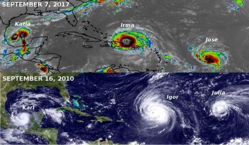7 năm trước, tháng 9/2010 cũng đã xảy ra tình trạng 3 cơn bão, Karl, Igor và Julia, cùng càn quét Caribbean. (Ảnh: Twitter)
