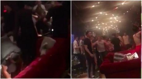 Cảnh đạo diễn phim Kong bị hành hung tại quán bar tối 9/9. Ảnh cắt từ clip.