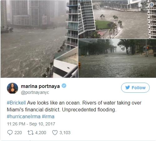 Phóng viên Marina Portnaya đăng các bức ảnh chụp khu vực Brickell ngập trong biển nước với dòng chú thích: Brickbell giống như đại dương. Nước chảy thành sông vào quận tài chính của Miami. Ngập lụt chưa từng thấy. (Ảnh: Marina Portnay/Twitter)