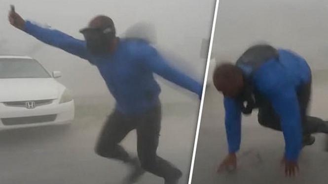 Một số cảnh chụp ôgn Drake đương đầu với gió giật của bão Irma /// Twitter