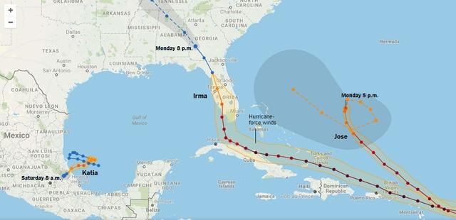 Đồ họa mô phỏng đường đi của bão Irma (Ảnh: New York Times)