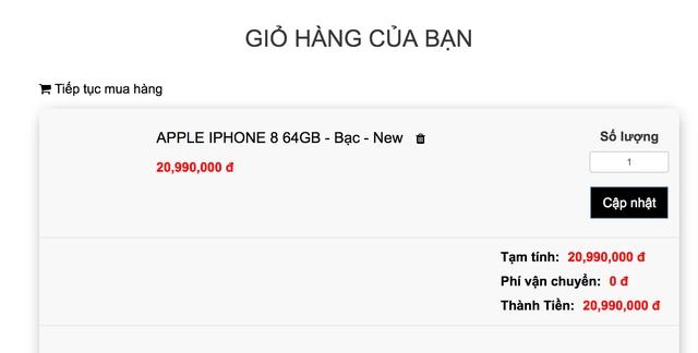 Giá đặt mua iPhone 8 xách tay đang được các cửa hàng chào bán ở mức 21 triệu đồng