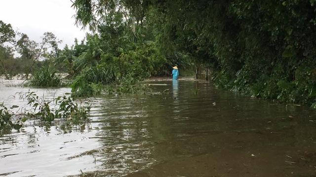 Đường vào xóm 8, xã Hưng Nhân - phía ngoài đê sông Lam nước dâng cao từ 50cm-1m làm chia cắt cục bộ.
