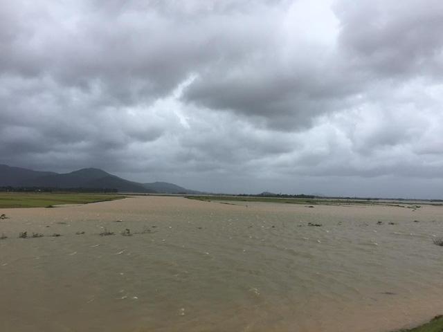 Mực nước sông Lam đoạn qua địa bàn xã Hưng Nhân đang dâng cao. Theo người dân, nếu đà này trong đêm nay nước sẽ gây ngập lụt nhiều nơi.