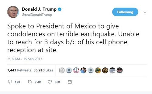 Dòng tweet giải thích về sự chậm trễ trong việc hỏi thăm nước láng giềng Mexico sau trận động đất. Ảnh chụp màn hình: Twitter.
