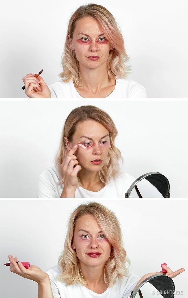 Dùng son đỏ để che quầng thâm dưới mắt không hiệu quả vì son đỏ thường bám màu lâu, sẽ biến quầng mắt thành màu đỏ.