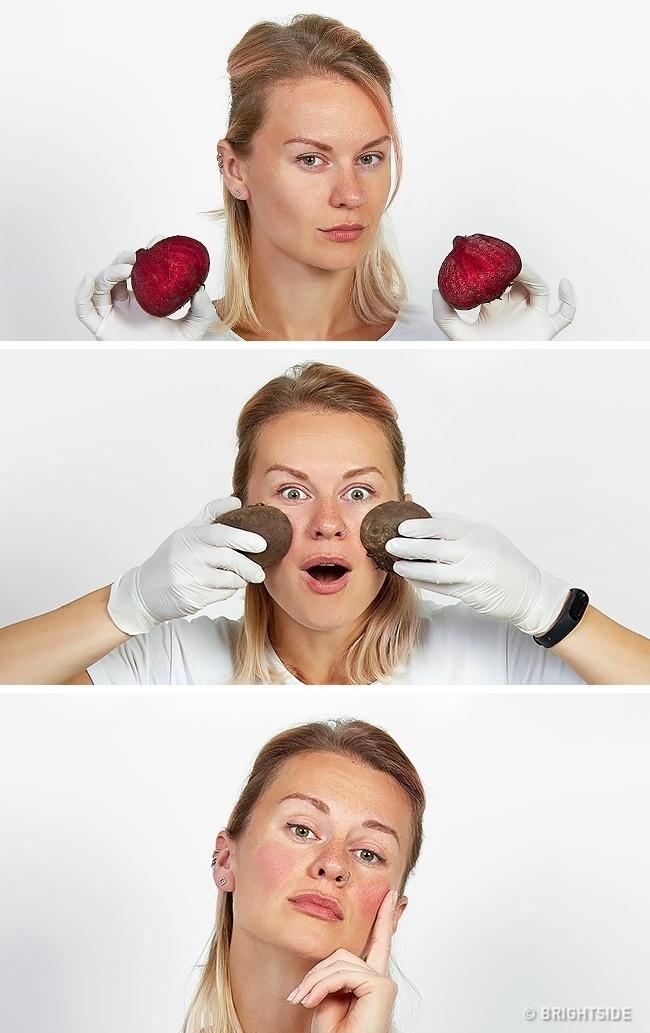 Dùng củ dền để làm hồng má chỉ hiệu quả trong vài phút. Nếu gặp mưa, chúng sẽ chảy màu loang lổ lên khuôn mặt.