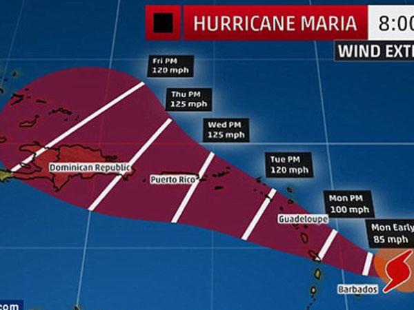 """Ảnh: Bão Maria tái hiện dấu chân """"quái vật"""" Irma trên Đại Tây Dương"""