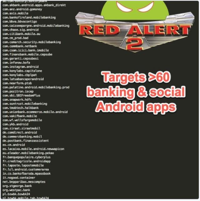 Hơn 60 ứng dụng ngân hàng trực tuyến và mạng xã hội đang là mục tiêu tấn công