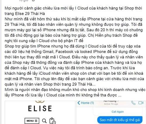 Khach mat iPhone tai Elise Thai Ha, nghi van nhan vien lay trom