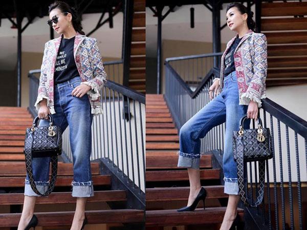 Kết hợp trang phục cùng quần jeans như Thanh Hằng, Hoàng Thuỳ Linh