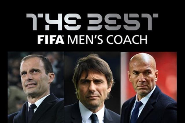 Ba HLV Allegri, Conte, Zidane lọt vào danh sách rút gọn giải HLV xuất sắc nhất FIFA