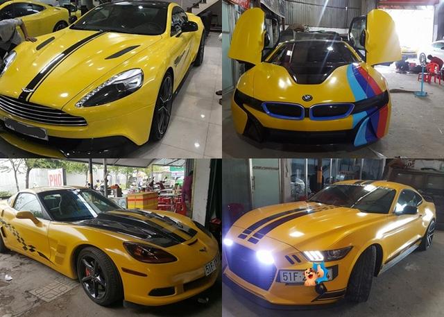 Siêu xe Aston Martin Vanquish cùng dàn xe thể thao tại Sài thành đồng loạt thay áo đề-can màu vàng - Ảnh 1.
